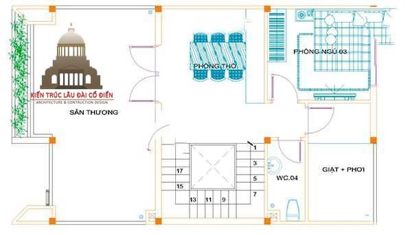 Thiết kế biệt thự tân cổ điển 2 tầng Châu Âu 6