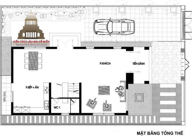 Thiết kế biệt thự phố tân cổ điển 3 phòng ngủ 4