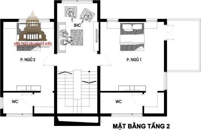 Thiết kế biệt thự phố tân cổ điển 3 phòng ngủ 6