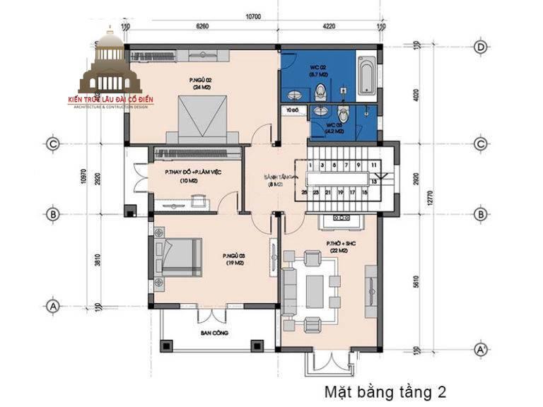 Biệt thự tân cổ điển 2 tầng đơn giản 4