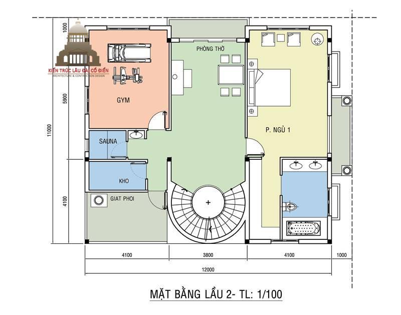 Biệt thự tân cổ điển 3 tầng mái nghiêng 8
