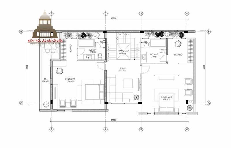biệt thự tân cổ điển mini 5 tầng 5