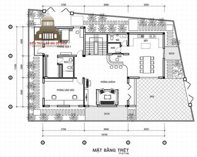 Thiết kế biệt thự tân cổ điển Pháp 3 tầng 4