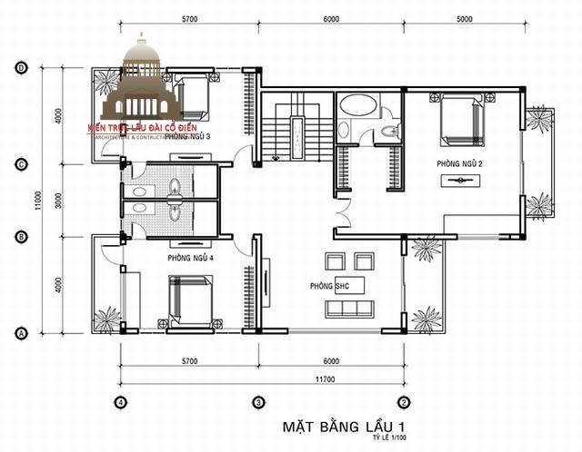 Thiết kế biệt thự tân cổ điển Pháp 3 tầng 5